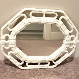 Octagon White Plastic Bamboo Style Wall Mirror